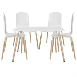 Modway Stack 5 Piece Dining Set in White