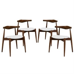 Modway Stalwart Dining Side Chair in Dark Walnut and White (Set of 4)