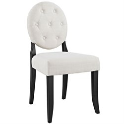 Modway Button Dining Side Chair in Beige