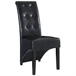 Modway Preside Faux Leather Dining Side Chair in Black