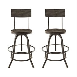 Modway Procure Adjustable Bar Stool in Black (Set of 2)
