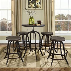 Modway Gather 5 Piece Round Adjustable Pub Set in Brown