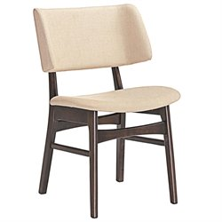 Modway Vestige Linen Dining Side Chair in Walnut and Beige