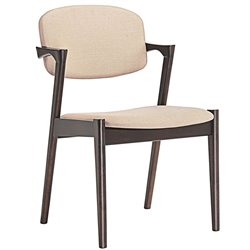 Modway Spunk Dining Arm Chair in Walnut and Beige