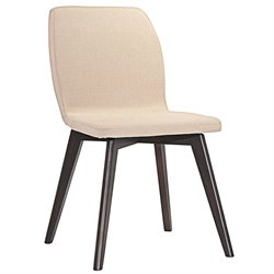 Modway Proclaim Linen Dining Side Chair in Walnut and Beige
