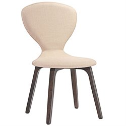 Modway Tempest Linen Dining Side Chair in Walnut and Beige