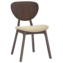 Modway Murmur Dining Side Chair in Walnut and Beige