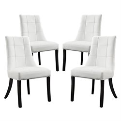 Modway Noblesse Faux Leather Dining Chair in White (Set of 4)