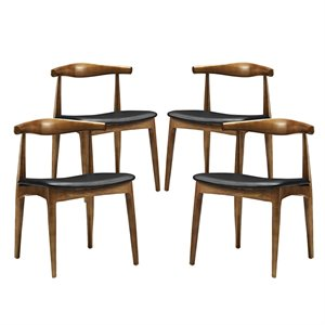 Modway Tracy Dining Chair in Black (Set of 4)
