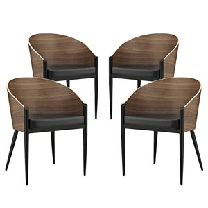 Modway Cooper Dining Chair in Walnut (Set of 4)