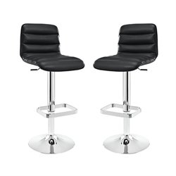 Modway Ripple Adjustable Bar Stool in Black (Set of 2)