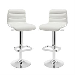 Modway Ripple Adjustable Bar Stool in White (Set of 2)