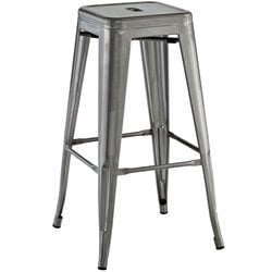 Modway Promenade Metal Bar Stool in Gunmetal