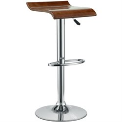 Modway Bentwood Adjustable Bar Stool in Oak