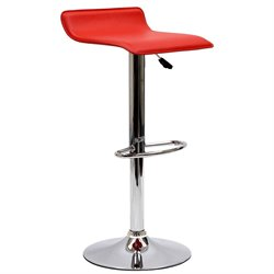 Modway Gloria Adjustable Faux Leather Swivel Bar Stool in Red