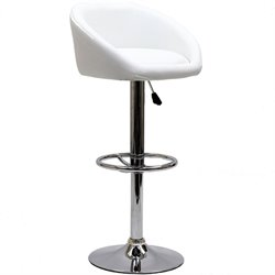 Modway Marshmallow Adjustable Faux Leather Bar Stool in White