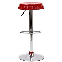 Modway Soda Adjustable Swivel Bar Stool in Red