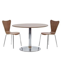 Modway Rostrum 3 Piece Round Dining Set in Walnut