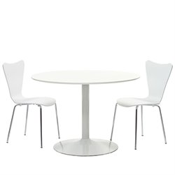 Modway Revolve 3 Piece Round Dining Set in White