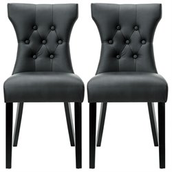 Modway Silhouette Dining Chair in Black (Set of 2)