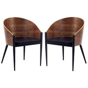 Modway Cooper Dining Chair in Walnut (Set of 2)