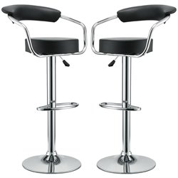 Modway Diner Adjustable Swivel Bar Stool in Black (Set of 2)