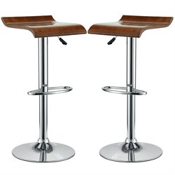 Modway Bentwood Adjustable Bar Stool in Oak (Set of 2)
