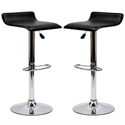 Modway Gloria Adjustable Faux Leather Bar Stool in Black (Set of 2)