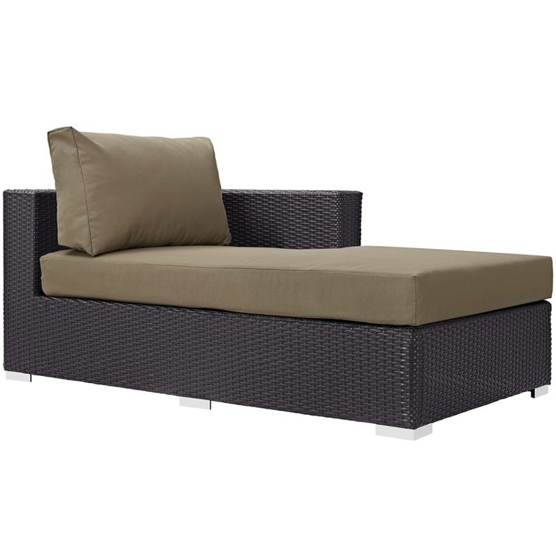 Modway convene right arm patio chaise lounge in espresso for Arm chaise lounge