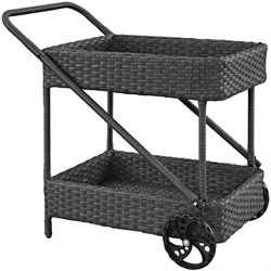 Modway Sojourn Rattan Patio Bar Cart in Chocolate