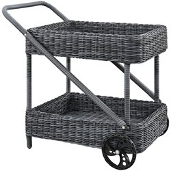 Modway Summon Rattan Patio Bar Cart in Gray