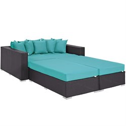 Modway Convene 4 Piece Patio Daybed Set in Espresso and Turquoise