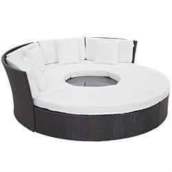 Modway Convene 5 Piece Patio Daybed Set in Espresso and White