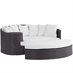 Modway Convene Patio Daybed in Espresso and White