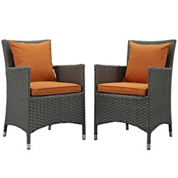 Modway Sojourn Patio Dining Chair in Canvas Tuscan (Set of 2)