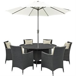 Modway Sojourn 8 Piece Patio Dining Set with Umbrella in Canvas Beige