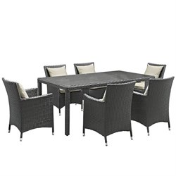 Modway Sojourn 7 Piece Patio Dining Set in Antique Canvas Beige