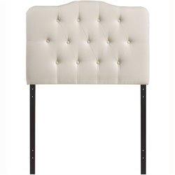 Modway Annabel Twin Tufted Panel Headboard in Ivory