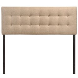 Modway Emily Upholstered Full Panel Headboard in Beige