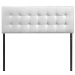 Modway Emily King Vinyl Panel Headboard in White