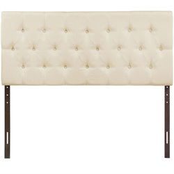 Modway Clique Queen Tufted Panel Headboard in Ivory