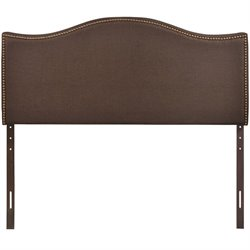 Modway Curl Upholstered Queen Panel Headboard in Dark Brown