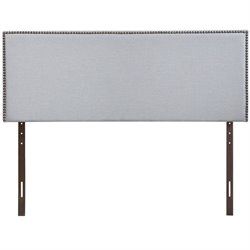 Modway Region Upholstered Queen Panel Headboard in Sky Gray