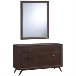 Modway Tracy 3 Drawer Dresser and Mirror Set in Cappuccino
