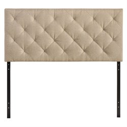 Modway Theodore Twin Tufted Panel Headboard in Beige