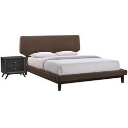 Modway Bethany 2 Piece Queen Panel Bedroom Set in Black and Brown