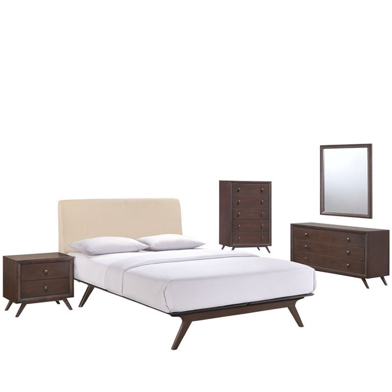 Modway Tracy 5 Piece Queen Bedroom Set In Cappuccino And Beige
