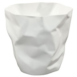 Modway Lava Plastic Trash Can in White