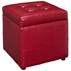 Modway Volt Square Faux Leather Storage Ottoman in Red