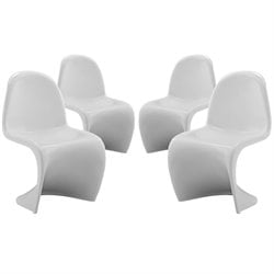 Modway Slither Plastic Chair in White (Set of 4)
